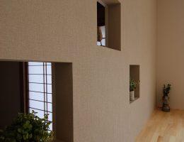 あかり採り窓兼飾り棚